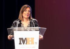 La consejera de Agricultura, Milagros Marcos, durante su intervención en el acto de entrega de los Premios Maestros Hosteleros '17