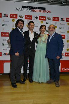Álvaro Elúa, delegado de RTVCyL en Madrid, Miguel Castañeda y Blanca Fraile, presentadores de la gala y Luis Carlos Mencía, Director de Producción de RTVCyL.