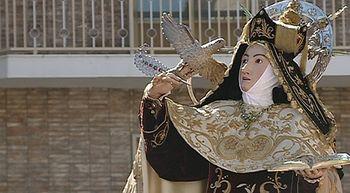 Alba de Tormes, Santa Teresa de Jes�s y un grupo de peregrinos