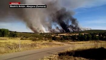 Un incendio en Abejera, Zamora, pone en alerta a los servicios de extinción