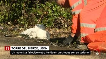 Un motorista fallecido y otro herido en un accidente en Torre del Bierzo, León