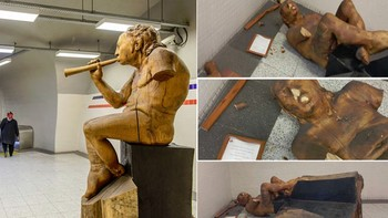 Destrozan la escultura 'The musician' del leon�s Amancio Gonz�lez en el metro de Turqu�a