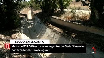 Los regantes de Geria-Simancas recurren una multa de 531.000 euros de la CHD