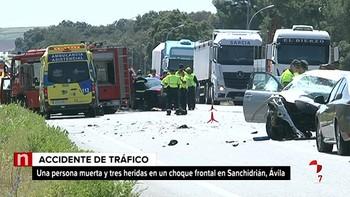 Un fallecido y tres heridos en un accidente de tráfico registrado en la N-VI a la altura de Sanchidrián, Ávila