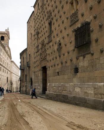 Dos jóvenes escalan la fachada de la Casa de las Conchas de Salamanca