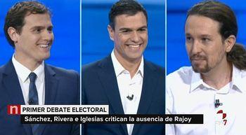 Debate entre S�nchez, Rivera e Iglesias: del tuteo a los reproches sobre pactos, copagos o Monedero