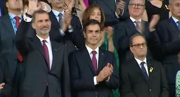 El Rey declara abiertos los Juegos Mediterráneos en una ceremonia con Torra y Sánchez