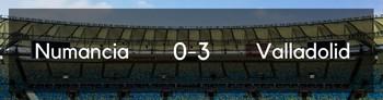 El Real Valladolid golea 0-3 al Numancia y pone pie y medio en primera división