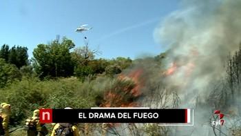 El fuego declarado en Fontoria evoluciona favorablemente y ya no hay riesgo para la población