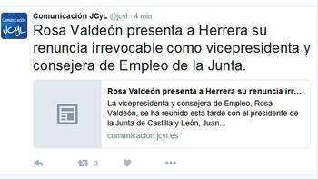 Rosa Valde�n presenta su renuncia irrevocable como vicepresidenta y consejera de Empleo de la Junta de Castilla y Le�n
