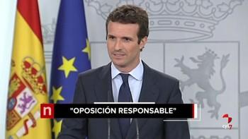"""Casado dice que el PP ejercerá una """"oposición firme"""" porque no ha visto en el Gobierno 'un proyecto para España'"""