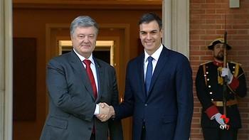 El presidente ucraniano, recibido por el Rey y Pedro Sánchez en su primera visita de trabajo a España