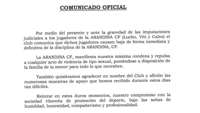La Arandina expulsa a los tres investigados por agresión sexual a través de un comunicado