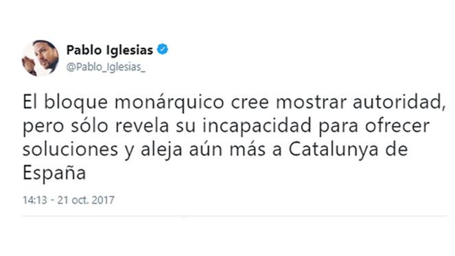 Pablo Iglesias dice que con el 155 'el bloque monárquico' aleja aún más a Cataluña de España
