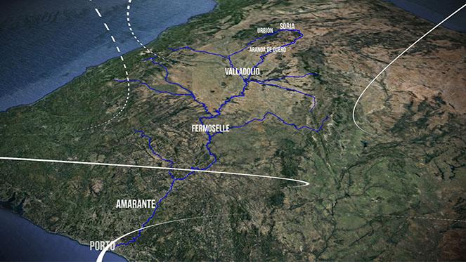 Mapa de la ruta Duero-Douro de 'Los Tesoros del Agua'